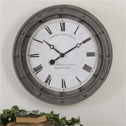 Uttermost Porthole Wall Clock in Rust Gray Frame