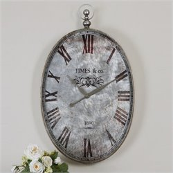 Uttermost Argento Antique Wall Clock in Brushed Aluminum