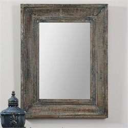 Uttermost Missoula Small Wall Mirror in Distressed Blue Green