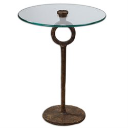 Uttermost Diogo Glass Accent Table in Oxidized Cast Iron