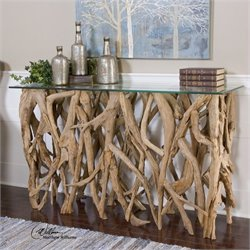Uttermost Teak Wood Console Table in Teak Wood