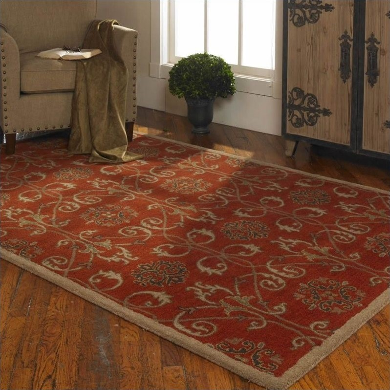 Uttermost Favara Wool Rug in Dark Red
