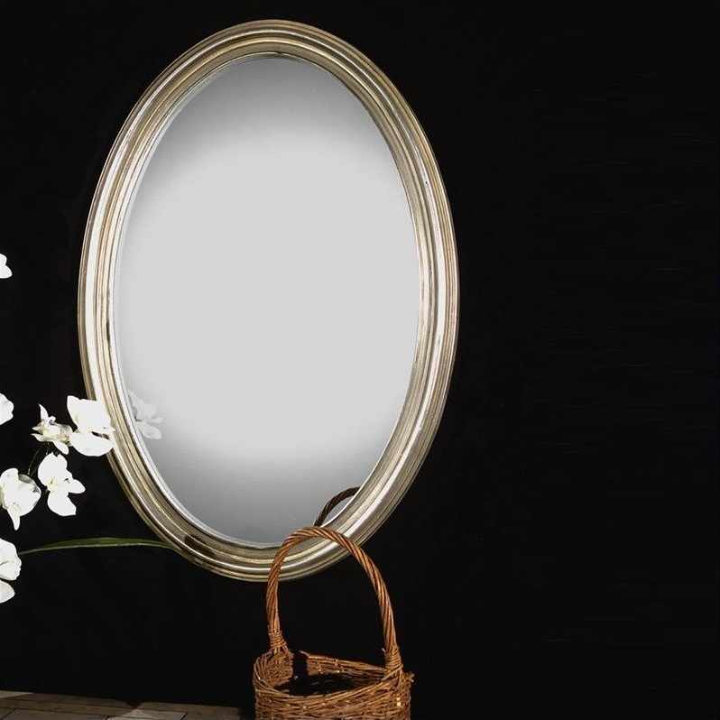 Uttermost Franklin Oval Distress Silver Leaf with Gray Glaze Mirror