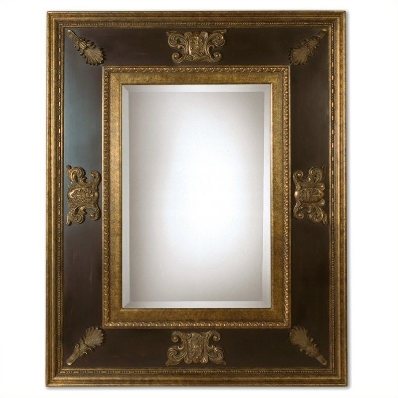 Uttermost Cadence Mirror in Antique Gold with Black Distressed Panel