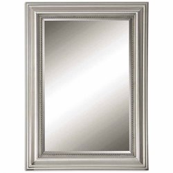 Uttermost Stuart Beaded Mirror in Silver with Gray Glaze