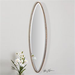 Uttermost Hand Forged Metal Oval Mirror in Antiqued Gold