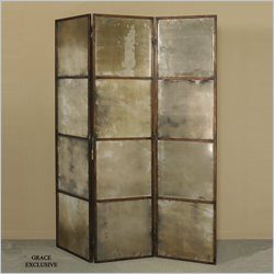Uttermost Avidan 3 Panel Screen Mirror in Antiqued Gold