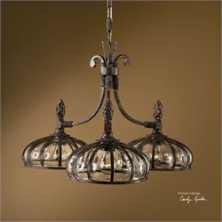 Uttermost Galeana 3 Light Iron Chandelier in Antique Saddle