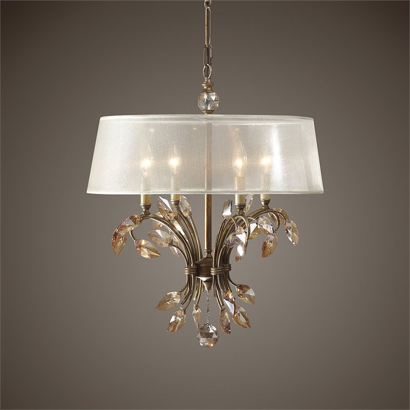 Uttermost Alenya 6 Light Shade Chandelier in Burnished Gold Metal