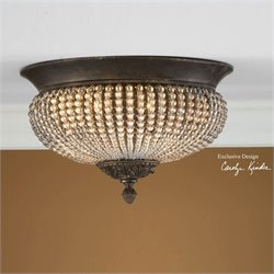 Uttermost Cristal De Lisbon Crystal Flush Mount in Golden Bronze