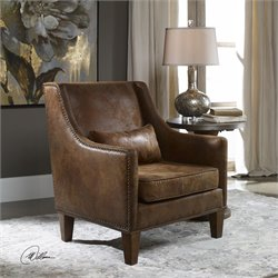 Uttermost Clay Tan Velvety Soft Fabric Arm Chair in Brown
