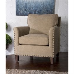 Uttermost Keturah Chenille Fabric Arm Chair in Beige