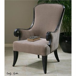 Uttermost Kandy Taupe Velvet Arm Chair in Black