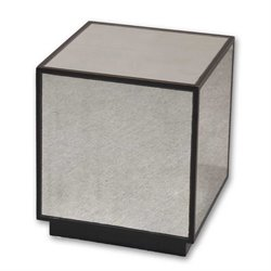 Uttermost Matty Mirrored Cube End Table in Aged Black