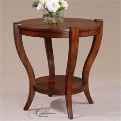 Uttermost Bergman Round End Table in Warm Antique Pecan