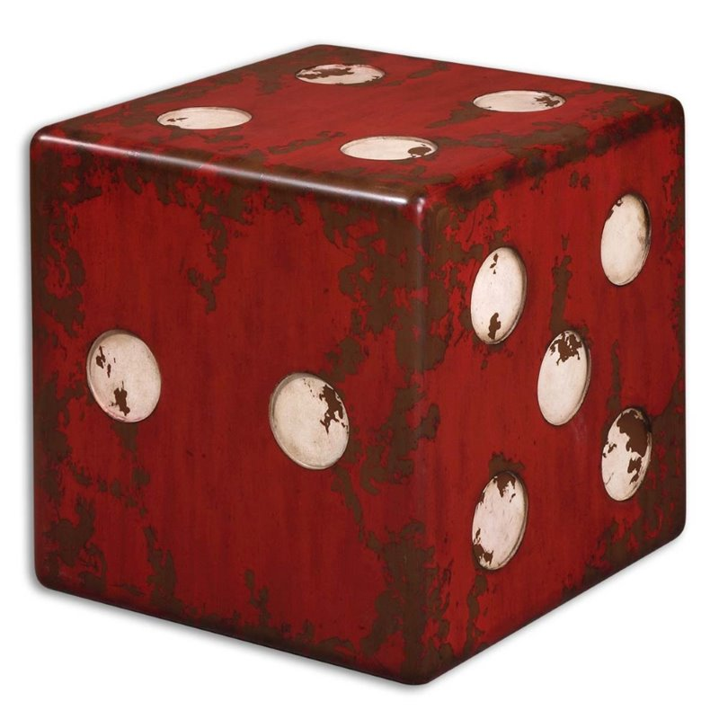 Uttermost Dice Accent Table in Red