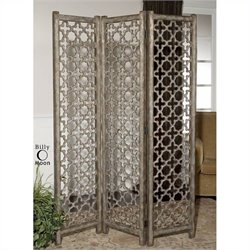 Uttermost Quatrefoil Burnished Aluminum Decorative Floor Screen