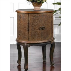 Uttermost Ascencion Copper Metallic Storage Accent Table in Rust Brown