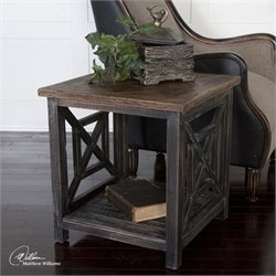 Uttermost Spiro Reclaimed Fir Wood End Table in Brushed Black