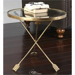 Uttermost Aero Glass Top Accent Table in Antiqued Gold