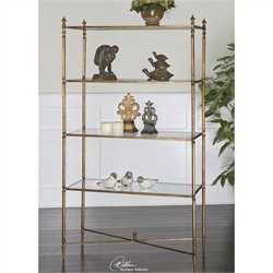 Uttermost Henzler Mirrored Glass Etagere in Antiqued Gold