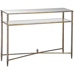 Uttermost Henzler Mirrored Glass Console Table in Antiqued Gold