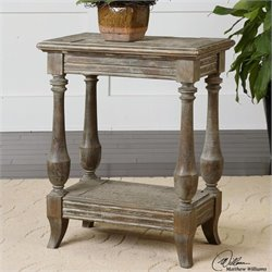 Uttermost Mardonio Fir Wood Distressed Side Table in Waxed Limestone