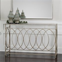 Uttermost Aniya Glass Top Iron Console Table in Antiqued Silver