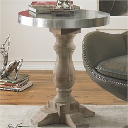 Uttermost Martel Aluminum Clad Accent Table in Natural Fir Wood