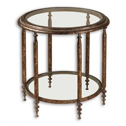 Uttermost Leilani Round Accent Table in Antique Gold and Gray