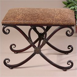 Uttermost Manoj Small Bench in Dark Coffee Brown