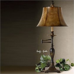 Uttermost Romina Swing Arm Table Lamp in Distressed Antique Bronze