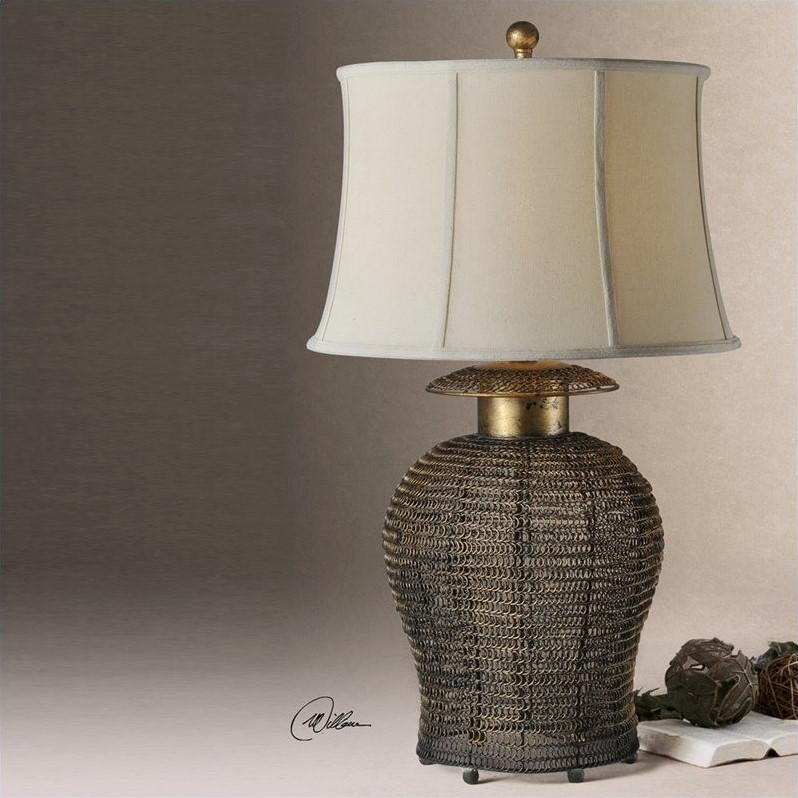 Uttermost Rickma Woven Metal Table Lamp in Antiqued Gold Leaf