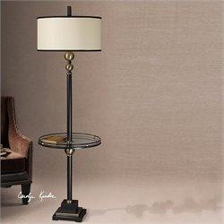 Uttermost Revolution End Table Floor Lamp in Rustic Black