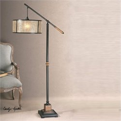 Uttermost Sitka Lantern Metal Floor Lamp in Aged Black