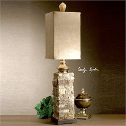 Uttermost Andean Layered Stone Buffet Lamp in Ivory and Brown