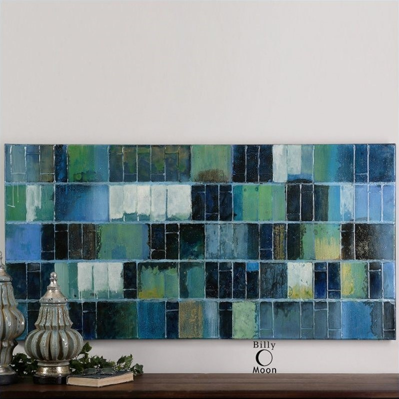 Uttermost Glass Tiles Hand Painted Canvas Modern Art
