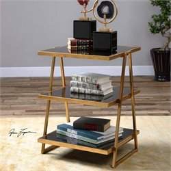 Uttermost Garrity Black Glass Accent Table