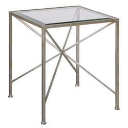 Uttermost Silvana Cube Table in Antiqued Silver