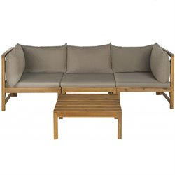Safavieh Lynwood Outdoor Sectional Teak Brown and Taupe