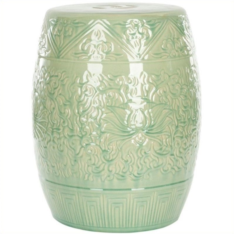 Safavieh Ceramic Garden Stool In Lime Green Acs4502a