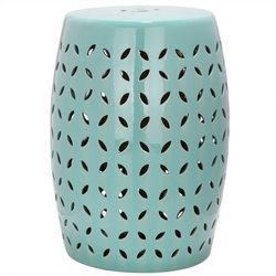 Safavieh Lattice Petal Ceramic Garden Stool in Robbins Egg Blue