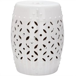 Safavieh Lattice Coin Ceramic Garden Stool in White
