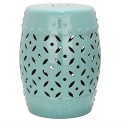 Safavieh Lattice Coin Ceramic Garden Stool in Robbins Egg Blue