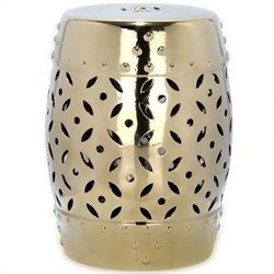 Safavieh Lattice Coin Ceramic Garden Stool in Gold