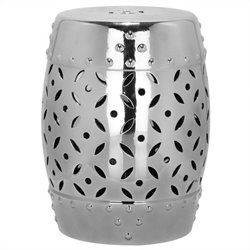 Safavieh Lattice Coin Ceramic Garden Stool in Silver