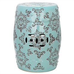 Safavieh Ceramic Medallion Garden Stool in Robbins Egg Blue