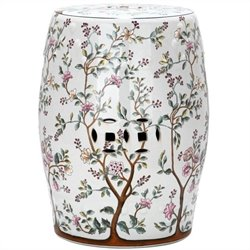Safavieh Ceramic Blooming Tree Garden Stool with Flower Tree Pattern