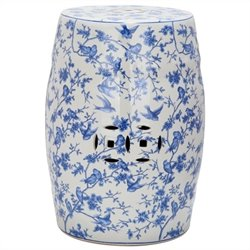 Safavieh Ceramic Blue Birds Garden Stool with Blue Pattern