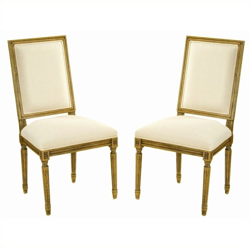 Safavieh Antiqued Fairfax Oak  Dining Chair in Oak and Cream (Set of 2)